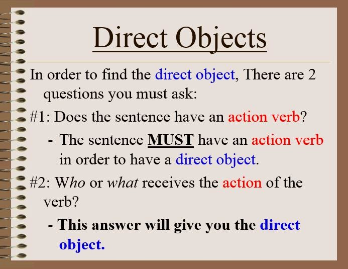 GWA Fourth Grade Blog: Grammar - Direct and Indirect Objects
