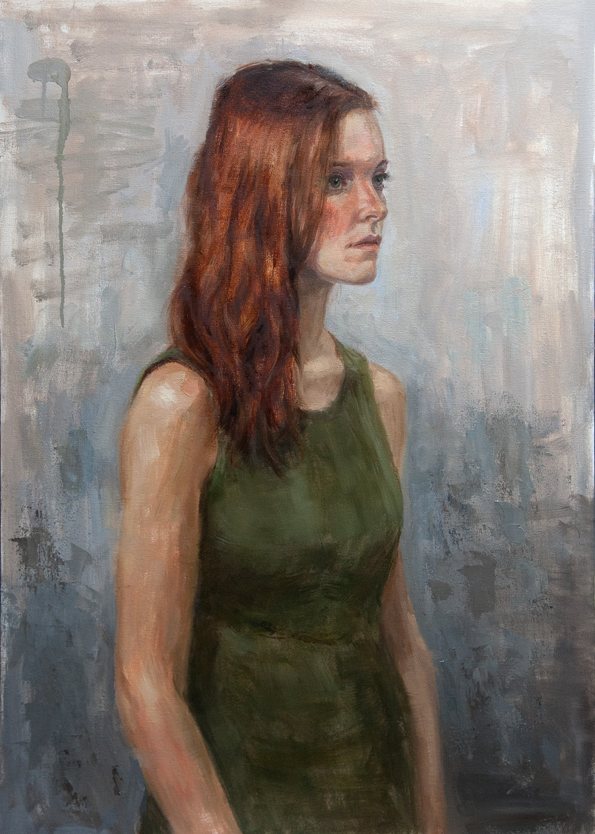 Girl red hair green dress oil painting by Erik van Elven