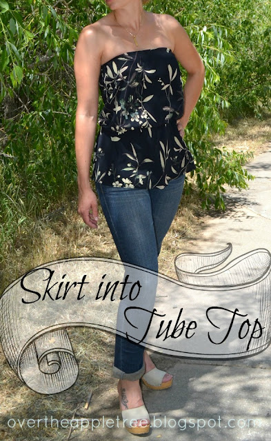 Turn a skirt into a summer tube top by Over the Apple Tree