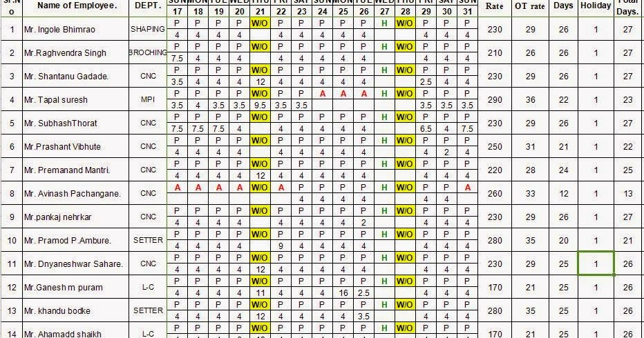 Every Bit of Life: Attendance Sheet with Salary in Excel ...