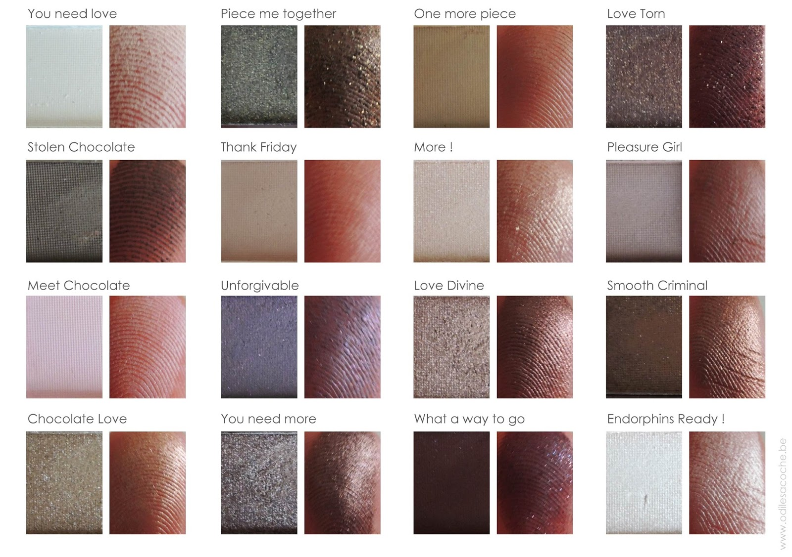 swatches i heart chocolate makeup revolution