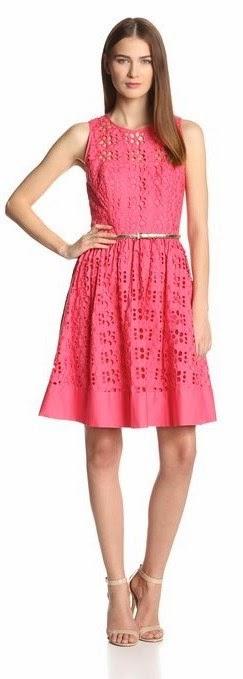 Eliza J Women's Sleeveless Lace Illusion-Yoke Fit-And-Flare Dress