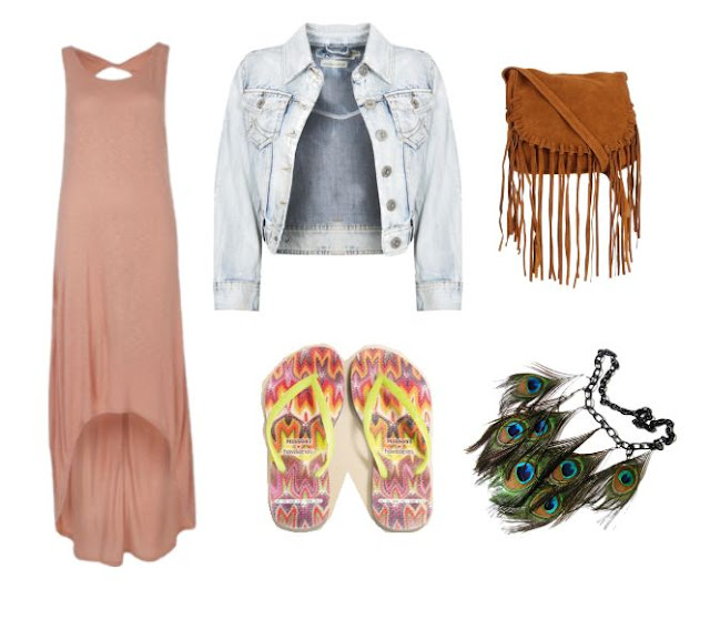 Summer to Fall transition outfit compilation, Havaianas Missoni sandals, designer sandals, brown maxi dress, cropped light denim jacket, cross body fringe bag, peacock feather necklace, style, fashion, Polyvore