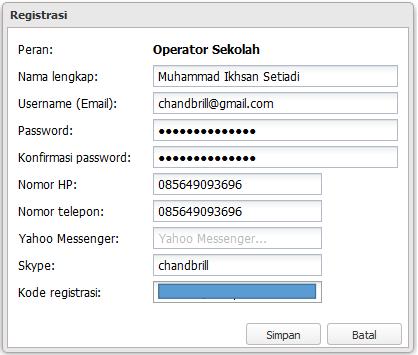 Isi Form Registrasi Pada Aplikasi Dapodikmen