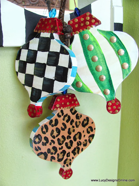 hand painted paper mache  ornaments