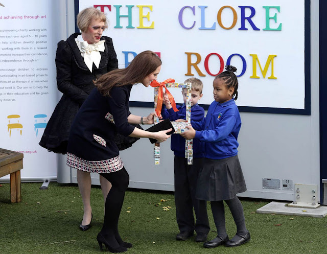 The Duchess was joined by the award-winning artist as she named a new art room at the London school