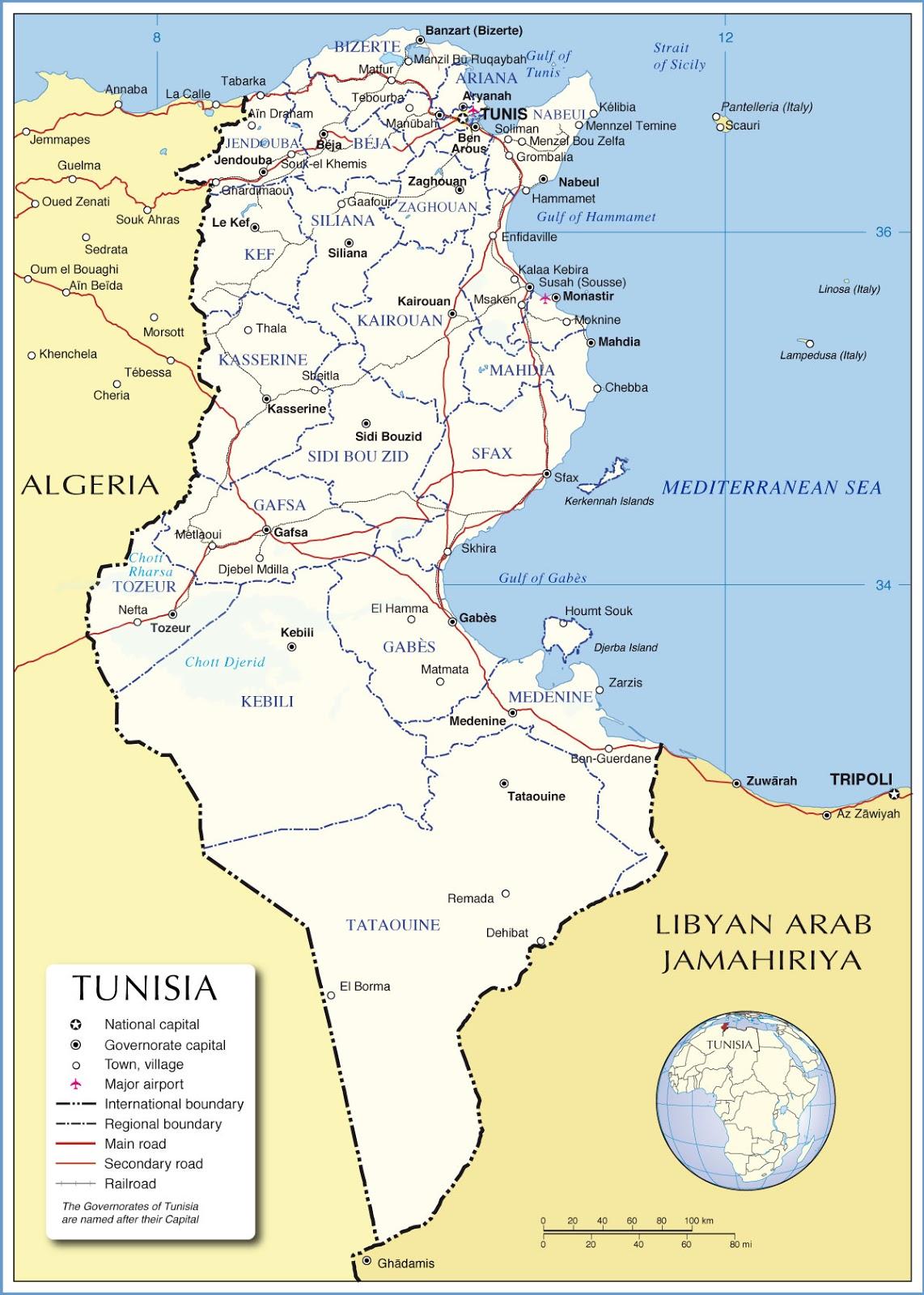 Mapa y Bandera de Tunez para dibujar