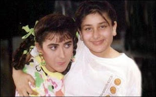 kareena with his sister krishma in chilhood image