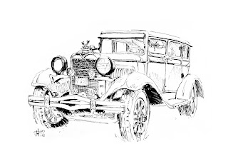 martin squires automotive illustration  berkley castle