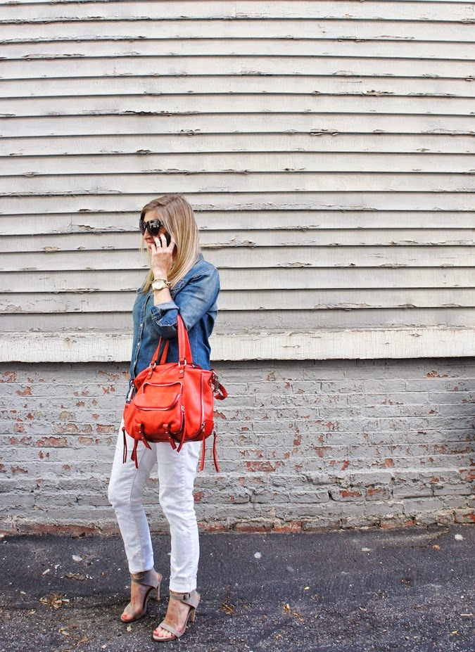 white jeans, chambray shirt, red bag, joelle hawkens