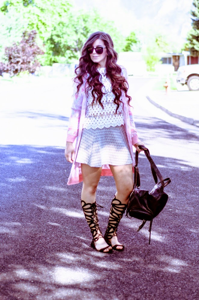 Aeropostale, Aeropostale festival style, festival style, pretty, what to wear to a festival, lace top, aztec cardigan style, aztec cardigan, aztec skater skirt, skater skirt, grey skater skirt outfit, gladiator sandals,