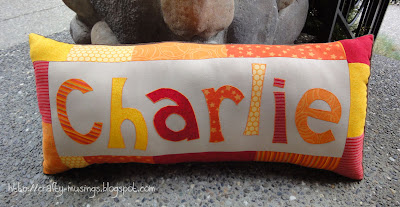 Charlie's pillow, front view