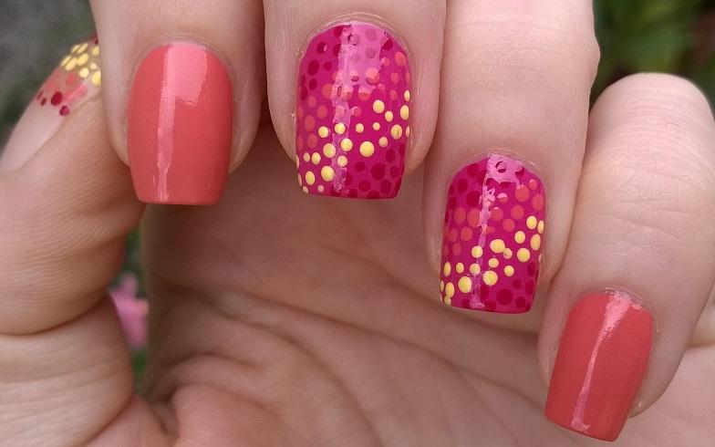 Pink Orange Grant Dot Nail Art For Summer