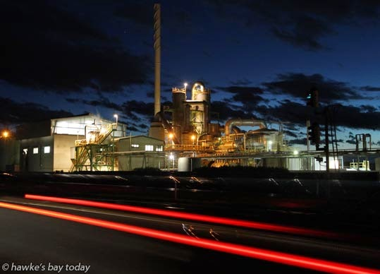 Night photo of Ravensdown Fertiliser Co-operative, SH2, Awatoto, Napier. photograph