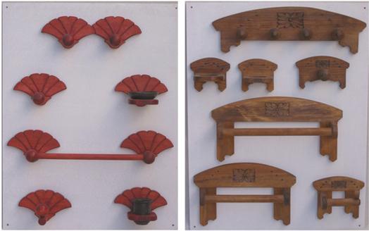 Juego De Baño Antiguo:Madera y Barro: Accesorios de Baño