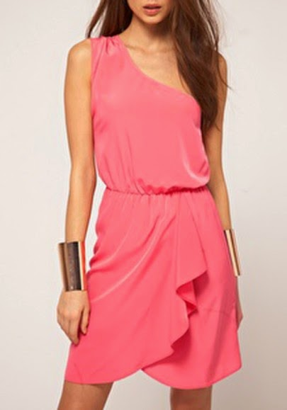Pink Cascading Ruffle Asymmetric Shoulder Chiffon Dress