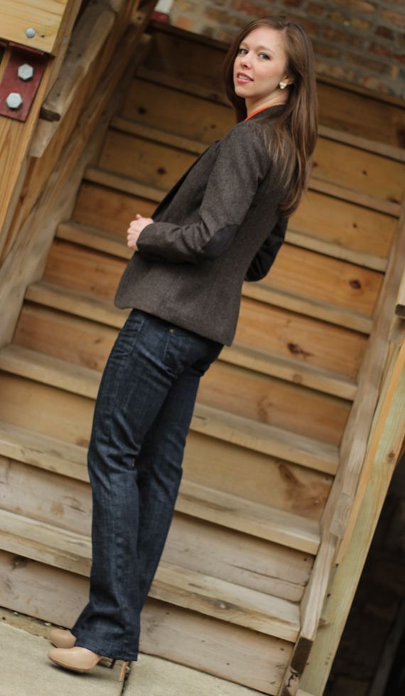 Brown Herringbone Blazer with Elbow Patches &amp; Jeans | StyleSidebar