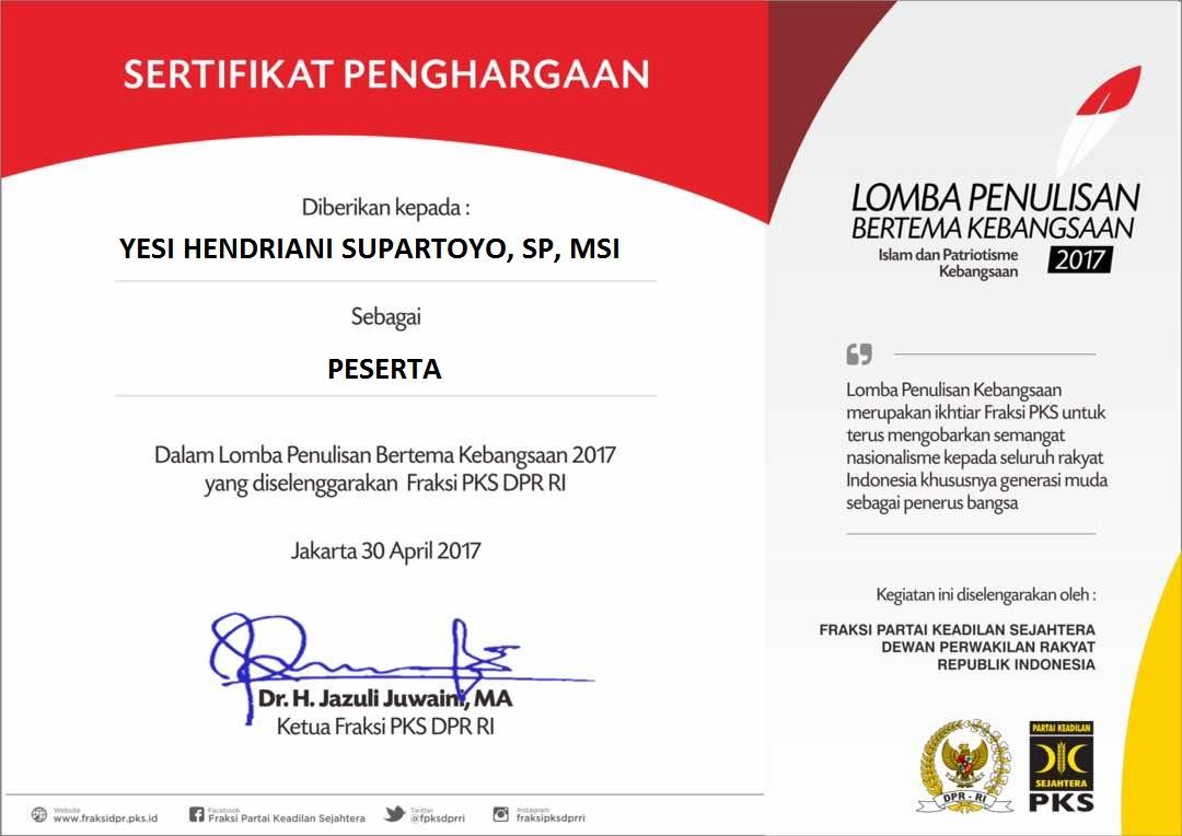 Lomba Penulisan Bertema Kebangsaan Fraksi PKS DPR RI