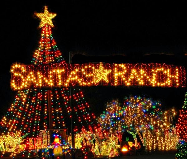 50 foot tree and the entrance of Santa's Ranch