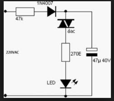 wiring schematic diagram  simple 220v ac blinking led