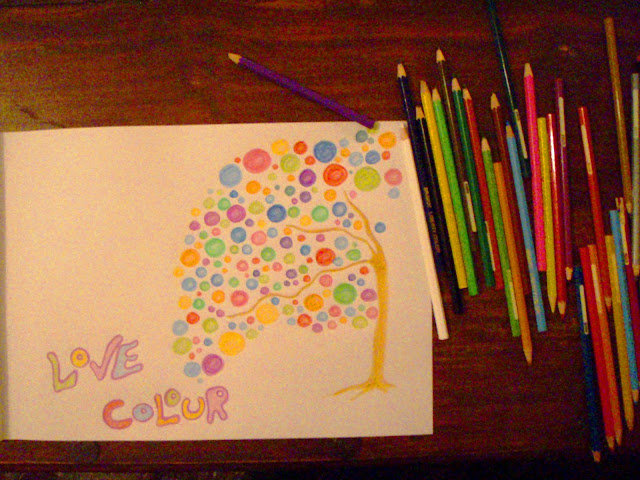 love colour tree drawing coloured pencils
