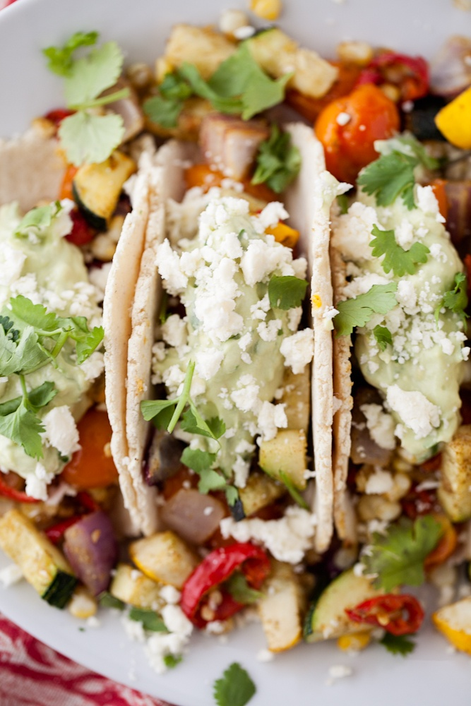 Roasted Veggie Tacos + Spicy Queso Fresco Guacamole }