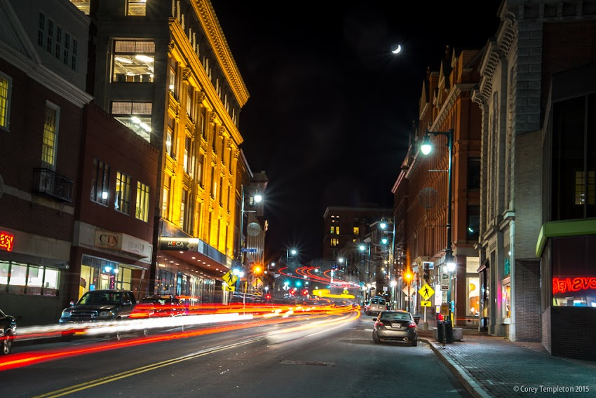 Portland, Maine USA November 2015 Photo by Corey Templeton. A waxing crescent moon hanging out above Congress Street last evening.