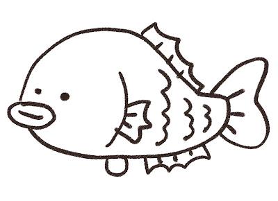 鯛のイラスト モノクロ線画