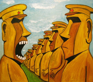 Soldiers stand like stone statues on Easter Island, commander shouting, stone poker face, funny pictures, comics