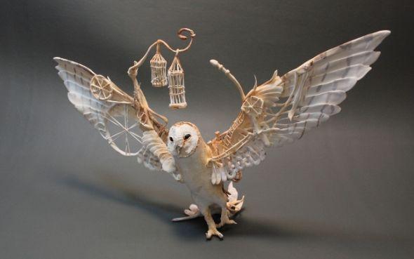 Ellen Jewett CreaturesFromEl deviantart esculturas surreais mixed animais Coruja
