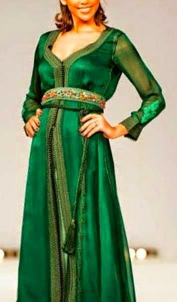 caftan marocain robe vert