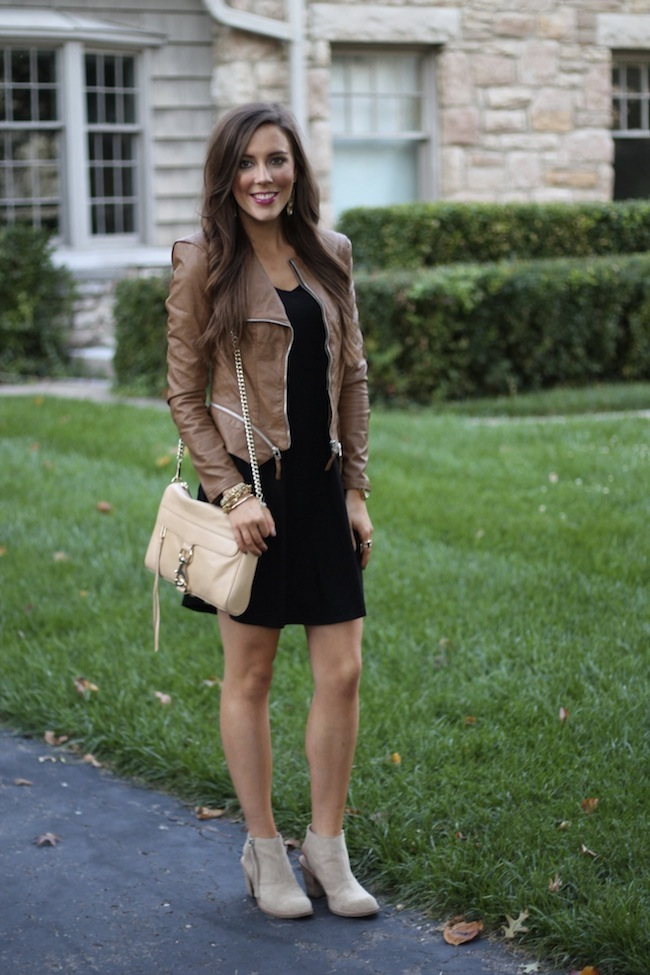 Simply Duo Style Brown Leather Jacket T Shirt Dress