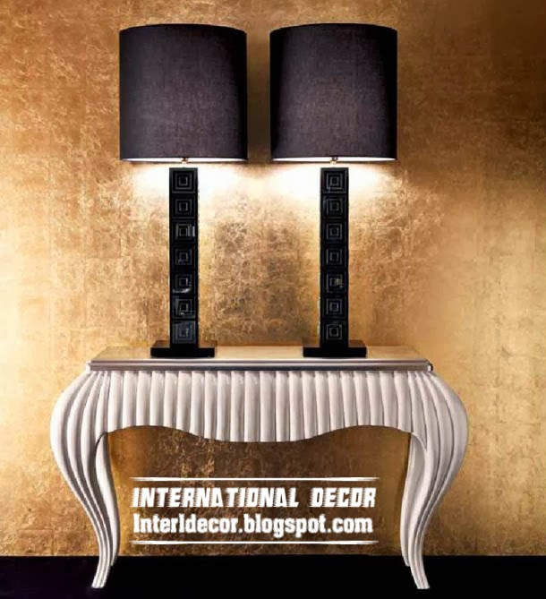 silver table, table lamps, art deco style in modern interior