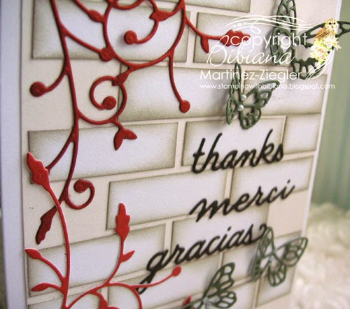 brick wall thank you card detail