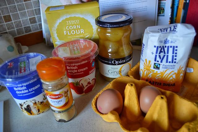 Ingredients for stem ginger ice cream