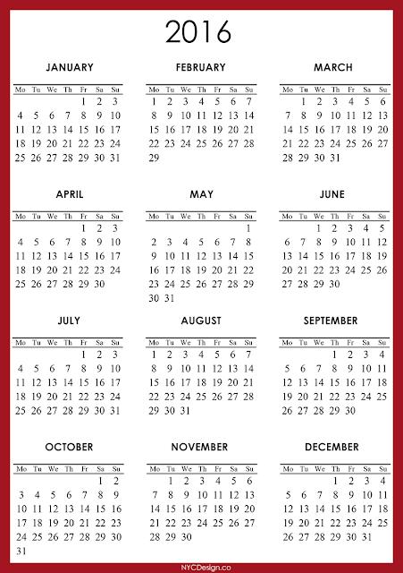 New York Web Design Studio, New York, NY: 2016 Calendar - Printable ...