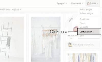 Configuración Pinterest