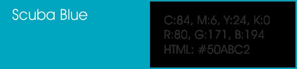 Scuba Blue y sus códigos cmyk, rgb, html