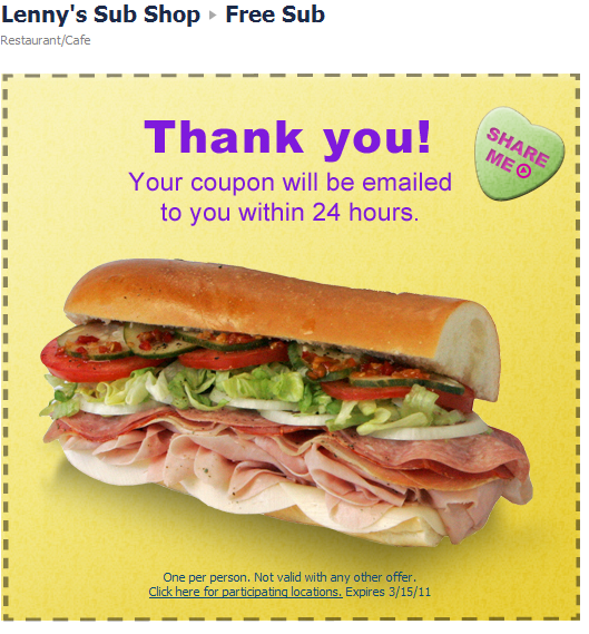 Lenny subs coupons