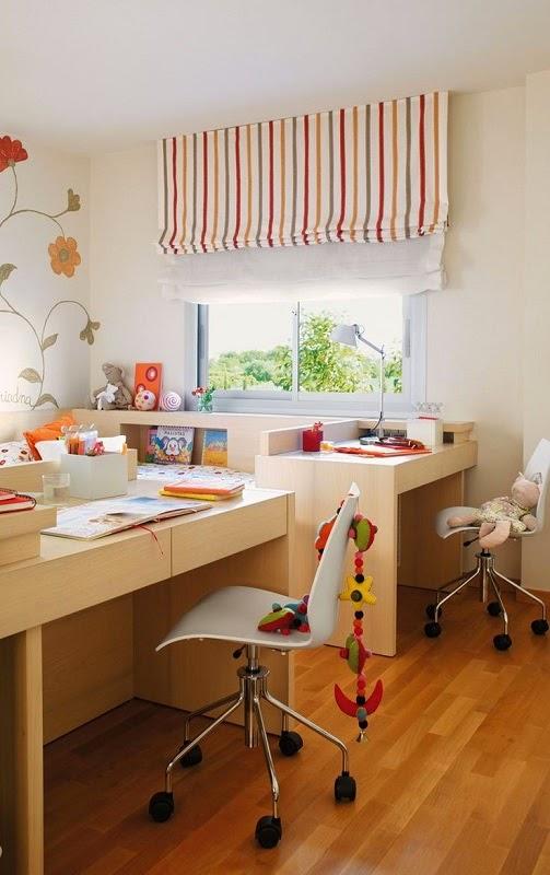 Cama com escrivaninha formando cantinho de estudos - Pinterest