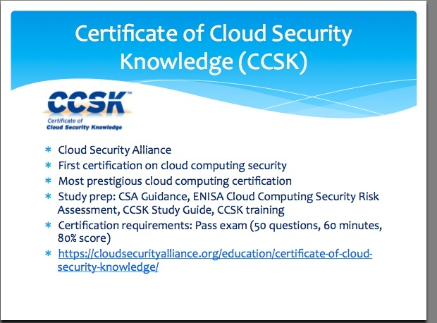 CCSK, cloud security framework from CSA | CSSK Cloud Security in ...