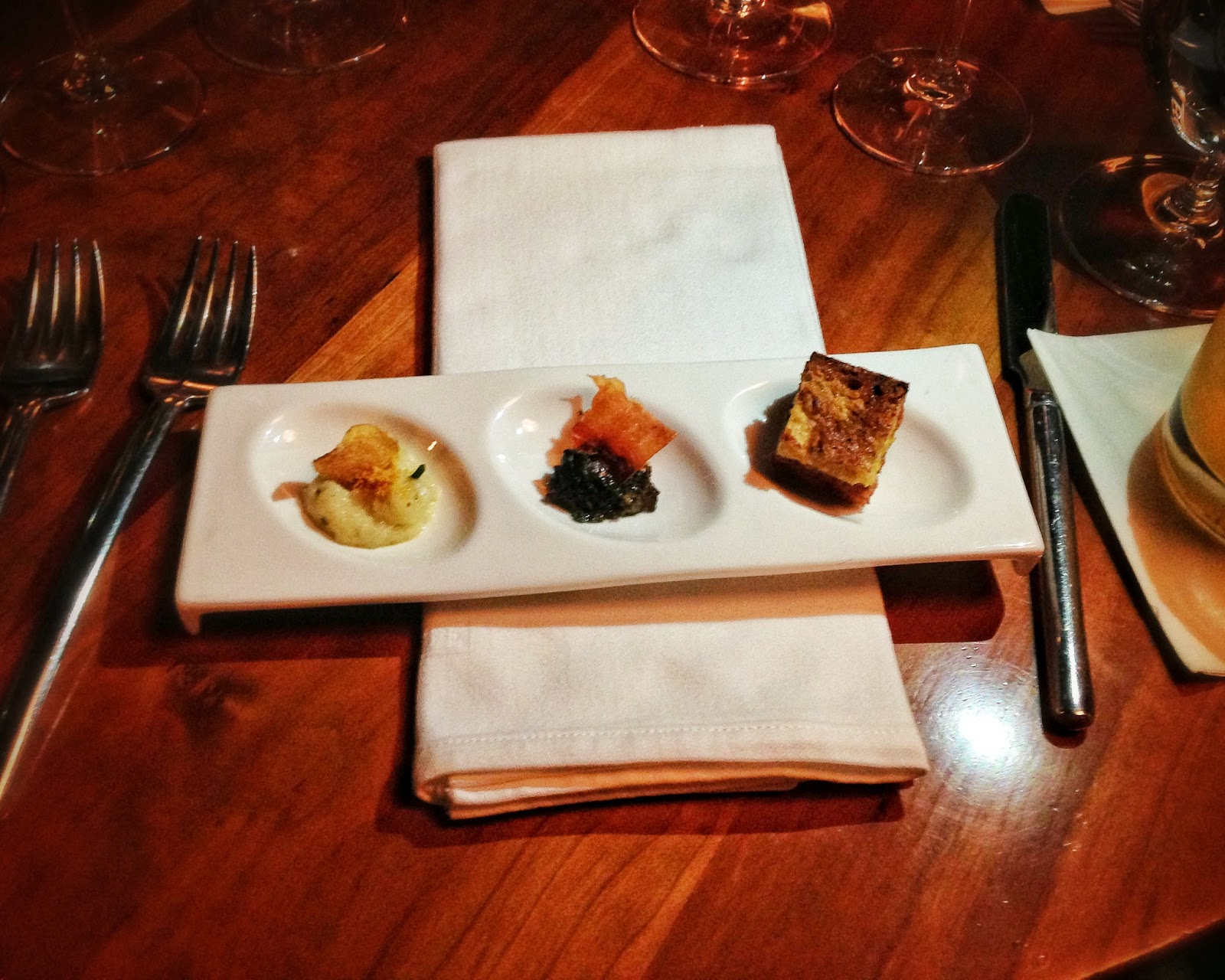 Amuse trio at 610 Magnolia located in Louisville Kentucky