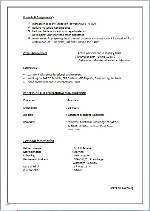 Presently working resume