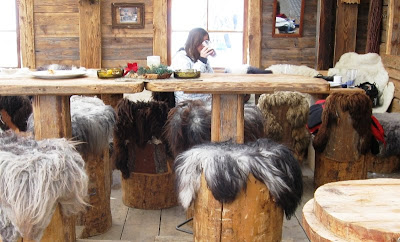 A mountain bar with fur-covered wooden stools and benches