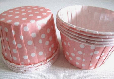 25 Light Pink w/ White Polka Dot Paper Candy Nut Cups / Cupcake Baking Cups / Ice Cream Cups baby shower candy salad nuts pink pig