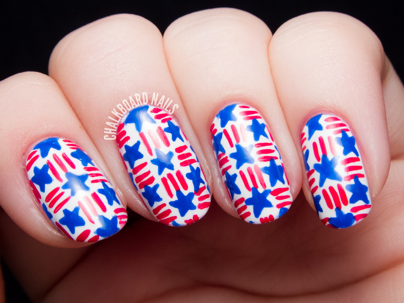 Stars and Stripes Basket Weave Nail Art | Chalkboard Nails | Nail ...