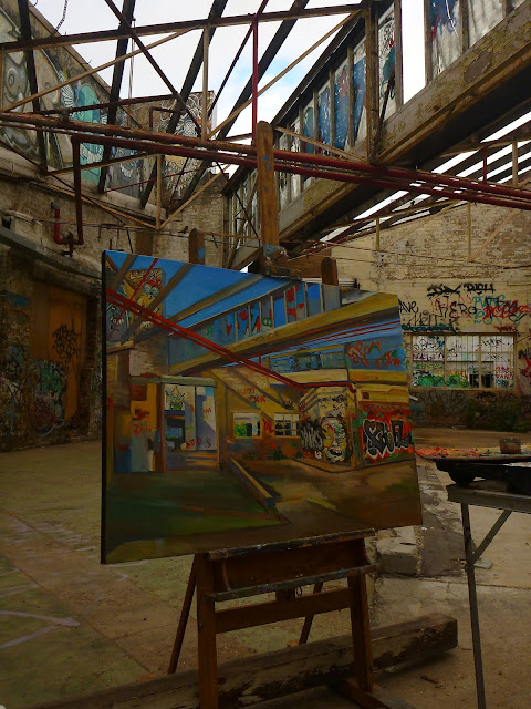 plein air painting of abandoned Dunlop-Slazenger factory in Alexandria by industrial heritage artist Jane Bennett