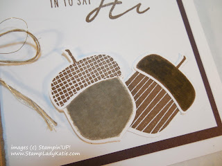Fall card made with StampinUP!'s Acorny Thank-you stamp set and Acorn Punch
