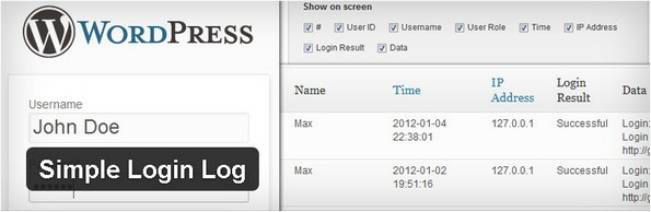 Simple Login Log WordPress plugin