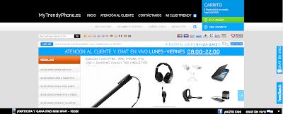Captura de la página principal de la tienda online MyTrendyPhone.es